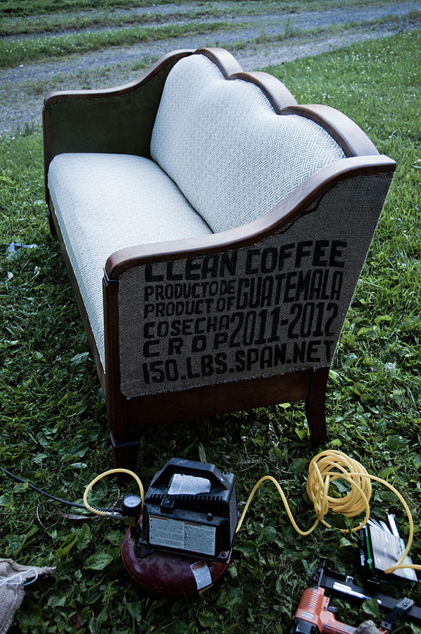 coffee sack upholstery