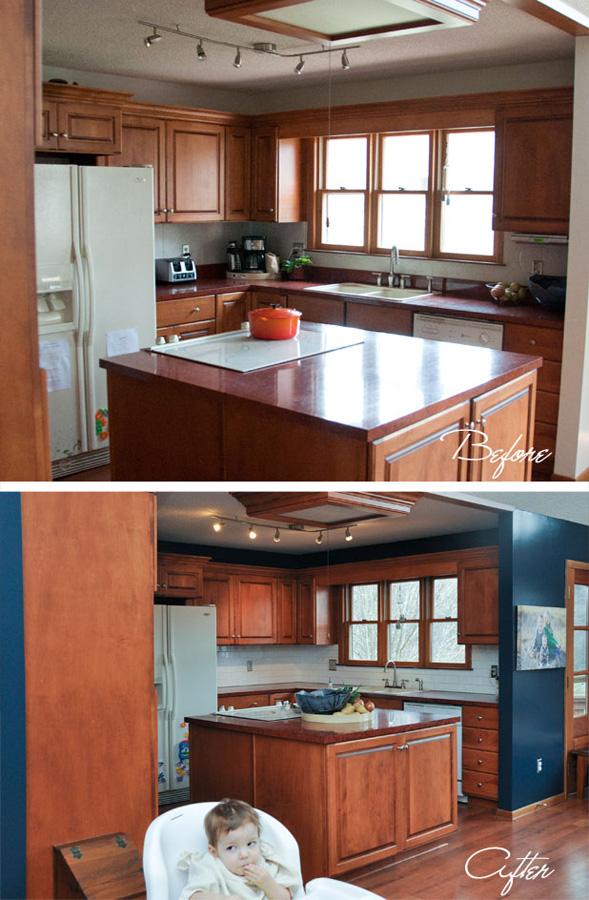 wood kitchen blue paint
