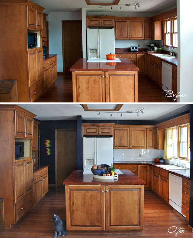 navy kitchen wood cabinets
